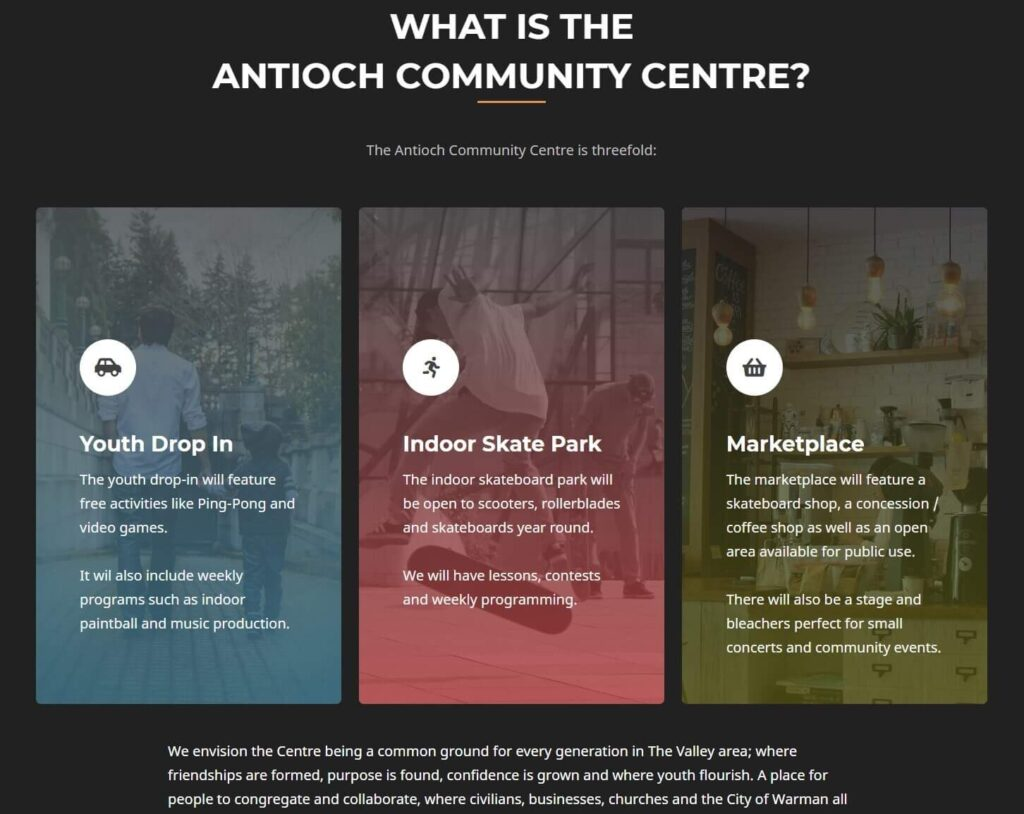 image explaining the antioch community centre in 3 parts