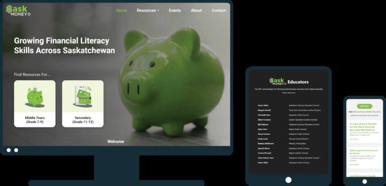 SaskMoney website on desktop, tablet, and mobile