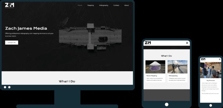 Zach James Media site on desktop, tablet, and mobile