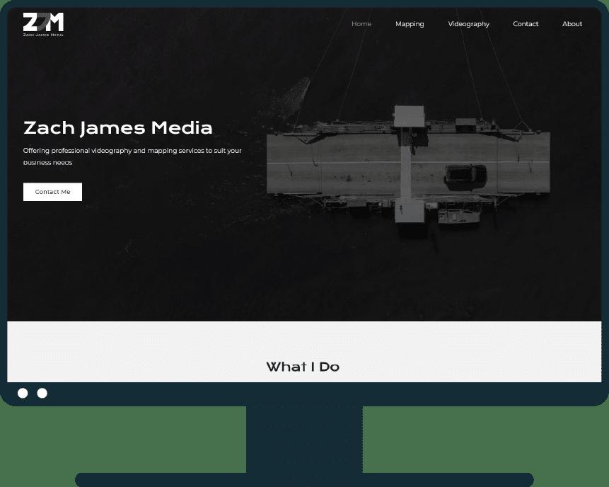 Zach James Media site on desktop